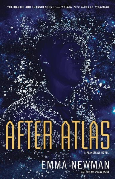 After Atlas cover: navy blue / violet background, and outline of a man in the same colors, merging with the background, specks of something bright around him