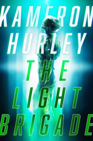 The Light Brigade cover: blue background, a glowing figure of a soldier in a helmet surrounded by light
